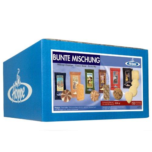 Hoppe Bunte Mischung, Kekse, Plätzchen, 6 Sorten Gebäck, einzeln verpackt, 150 Stück, 1226g