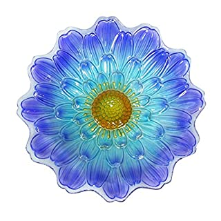 Alpine Blue Flower Birdbath, 18 Inches