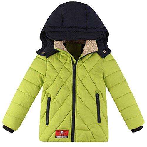 Ohmais Unisex Jungen Mädchen Winter Down Jacket verdickte Winterjacke Jungen Mantel verdickte Trenchcoat Jungen Outerwear mit Kapuzen Gelb