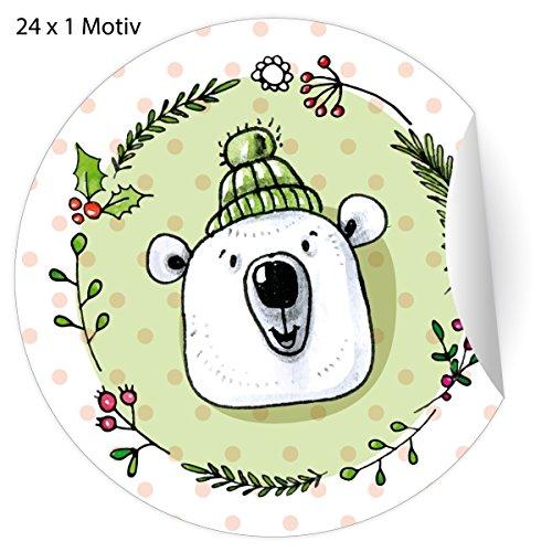 24 witziges Weihnachts Aufkleber mit Eisbären in Mütze zu Weihnachten, MATTE Papier Sticker für Geschenke, Mitgebsel, universal Etiketten für Deko, Pakete, Briefe etc (ø 45mm; 24 x 1 Motiv)
