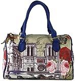 #1195 Damen Designer Handtasche Paris Bowlingbag inkl. Trageriemen Schwarz Weiss Beige Rosa Rot Blau