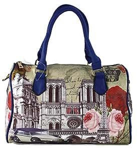 #1195 Damen Designer Handtasche Paris Bowlingbag inkl. Trageriemen Schwarz Weiss Beige Rosa Rot Blau (Blau)