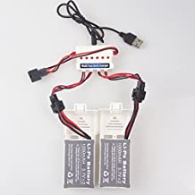 Wwman 2pcs 3.7v 1000mah Official Battery and 1to3 Charger for Udi U842 U818S Rc Quadcopter Drone White Spare Parts