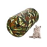 Pet gattino gatto tunnel pieghevole tubo con palla gioca giocattoli per gatto, cagnolino, gattino, coniglio e altri piccoli animali casa camouflage (50x 25cm)