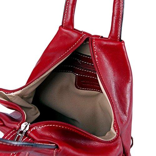 MICHELANGELO handgefertigt italien - Rucksacktasche mit Griff, aus echtem Leder 25x13 H40 cm Rot