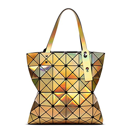FZHLY Ms. Geometriche Borse Pieghevole Da 6 Cellulare Spalla Laser Bag,LaserPurple LaserGold