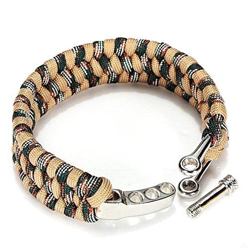 JYtop Paracord Bracelet de Survie avec Anse réglable en Argent en Acier Inoxydable, Dragon Tissage, Bronzage Clair
