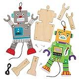 Baker Ross Bastelsets Holzfiguren 'Roboter' (4 Stück) - bewegliche Puppe mit beweglichen Armen und Beinen für Kinder zum Gestalten