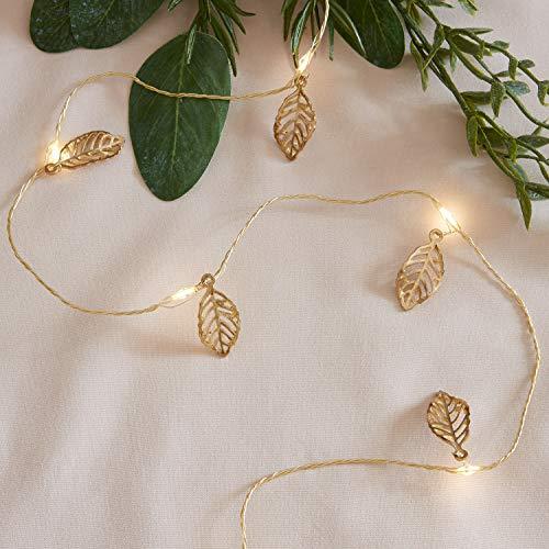 Lights4fun 20er Micro LED Lichterkette warmweiß goldene Blätter batteriebetrieb Timer Goldenen Blättern