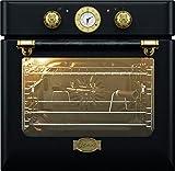 Kaiser EH 6424 BE Retro Einbau Backofen Elektro, Autark, 68 L, Backofen Einbau, Selbstreinigung,Drehspieß,8 Funktionen,Einbaubackofen,E-Herd,Metall mit 'Antike-Gold'-Legierung,Lederbelag,Heißluft