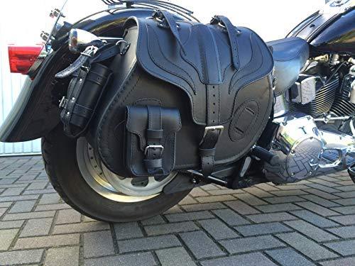 Satteltasche Big Boy rechte Seite Schwarz Lederkoffer rechts 35L Satteltaschen HD Harley Davidson Taschen Seitentasche Koffer Motorrad Biker Leder Orletanos groß XL