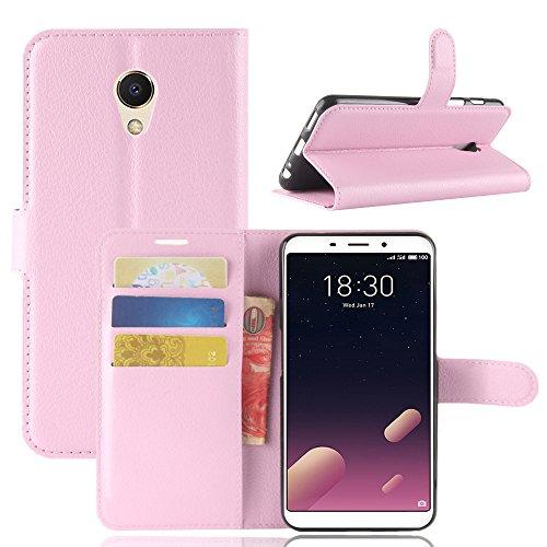 Kihying Hülle für Meizu M6s / Meilan S6 Hülle Schutzhülle PU Leder Flip Wallet Fashion Geschäft HandyHülle (Pink - JFC08)