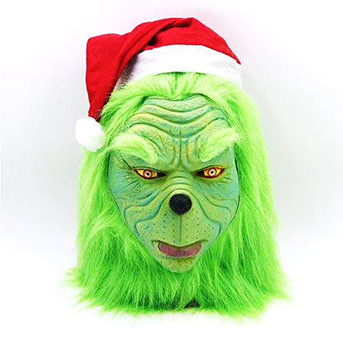 Grinch Kostüm Ein - mimisasa Weihnachtskostüm Requisiten Scary Mask Latex Helm Erwachsene Masken (Abnehmbare Weihnachtsmütze)