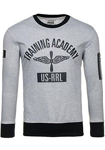 bolf-felpa-senza-cappuccio-pullover-sweat-shirt-jstyle-2117-uomo-xxl-grigio-1a1