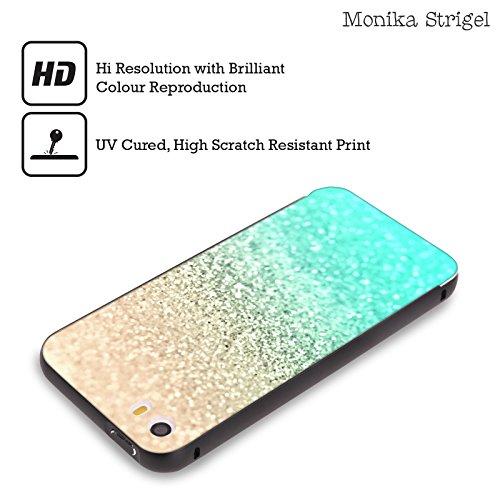 Offizielle Monika Strigel Chevron Glitzer Und Gold Sammlung Schwarz Rahmen Hülle mit Bumper aus Aluminium für Apple iPhone 6 Plus / 6s Plus Aqua