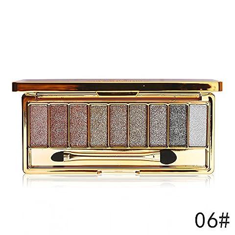 JGB 9 Colors Diamond Bright Colorful Makeup Eye Shadow Palette Set Flash Glitter Eyeshadow with Brush,6 Edition …