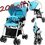 Qulista Klappbar Baby Buggy Kinderwagen mit Sonnendach, 5-Punkt Sicherheitsgurt, Rückenlehne verstellbar, mobil Sitzbuggy Blau 1-3 Jahre alt