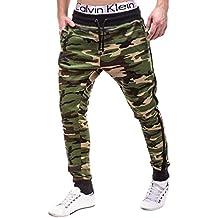 BetterStylz AngelBZ Hombre Pantalones Deportivos Army Camoflage Joggers Pantalón de chándal con 2 Cremalleras Sweatpant div colores (XS-XXL)