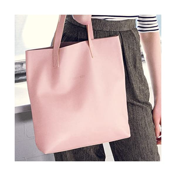 Pink Leather Tote - handmade-bags