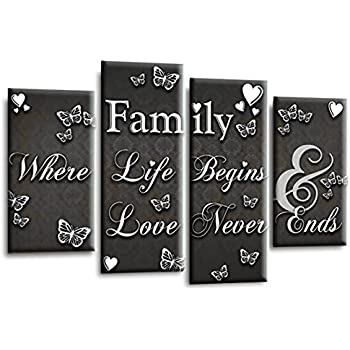 FAMILY QUOTE WALL ART PICTURE BLACK AND WHITE HOME CANVAS SPLIT PANEL PRINT