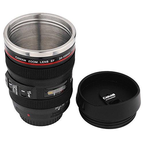 ECHI Tasse à café - 1: 1 Imitation 24-105 Caniam Lens Coffee Cup - Thermos de voyage 13.5oz (400Ml) Intérieur en acier inoxydable, plastique extérieur - noir