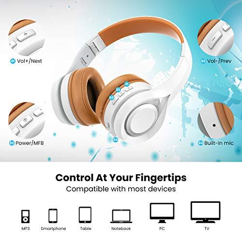 Bluetooth Kopfhörer, ELEGIANT Multifunktion Bluetooth 4.1 Wireless Stereo Headset Wiederaufladbare drahtlose Kopfhörer Ohrhörer Hohe Qualität On Ear Kopfhörer Freisprechfunktion + Mic/3,5mm Audio AUX Kompatibel mit Handys iPhone 7 6 6plus iPad Samsung HTC LG Laptops Tablets Smartphone und andere Bluetooth Geräte - 5