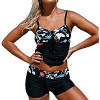Honghu Mujer Bañador Tankini De Dos Piezas Bikini Top Shorts Colores Opcionales Verano Elegante Cómodo Plegar