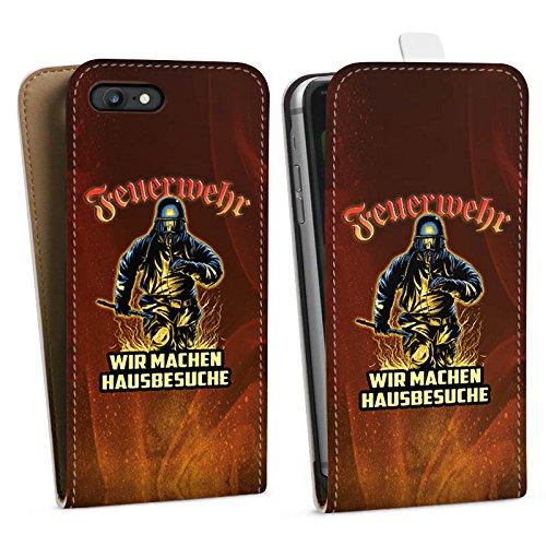 Apple iPhone SE Stand Up Hülle Case Cover mit Standfunktion Feuerwehrmann Spruch Feuerwehr Downflip Tasche weiß