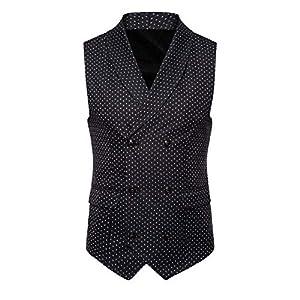 feiXIANG Herren Weste Bluse ärmellose British Suit Vest Slim Männer Button Spot Print Jacke Casual Mantel
