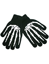 Gloves Skeleton Hand Bones Black one size fits up to Adult Small Knitted with rubberized print Design