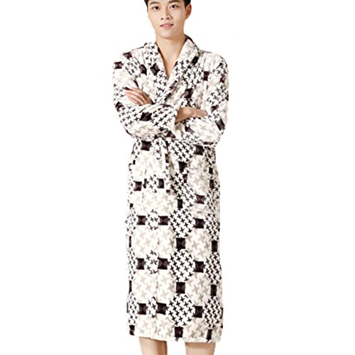 DMMSS Gli uomini accappatoio Coral Fleece Robe imbottito caldo camicia