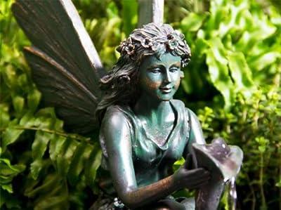 Beleuchteter Solarbrunnen - Elfe auf einer Muschel von Primrose auf Du und dein Garten