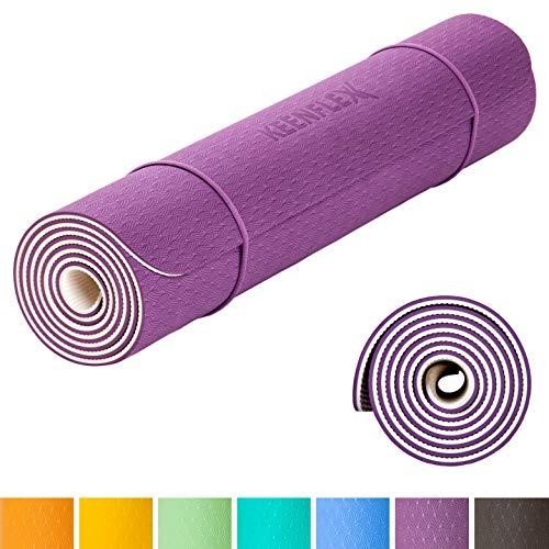 KeenFlex rutschfeste Yogamatte - frei von Schadstoffen - vollständig recyclebar- SGS geprüft Perfect Fitnessmatte Sportmatte Gymnastikmatte Pilatesmatte - inkl. gratis Tragegurt (Violett & Weiss)
