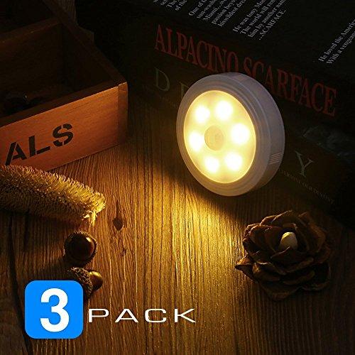 Nachtlicht mit Bewegungsmelder Batteriebetriebene LED Nachtlicht Wandleuchte Treppenlicht Schrankleuchte für Flur Schlafzimmer Badezimmer Küche von Famirosa (warmweiß 3 Pack) (Bewegungs-sensor-nachricht)