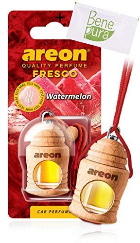 AREON Auto Lufterfrischer Parfüm Fresko 4 ml - Wassermelone-Duft - Hängende Flasche Diffusor mit Echtholzdeckel, langlebig