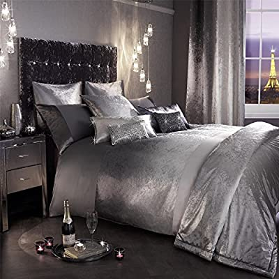 Kylie Minogue Single Duvet Cover 100% Cotton 200TC Bedding Satin Bed Linen Set Ombre Grey