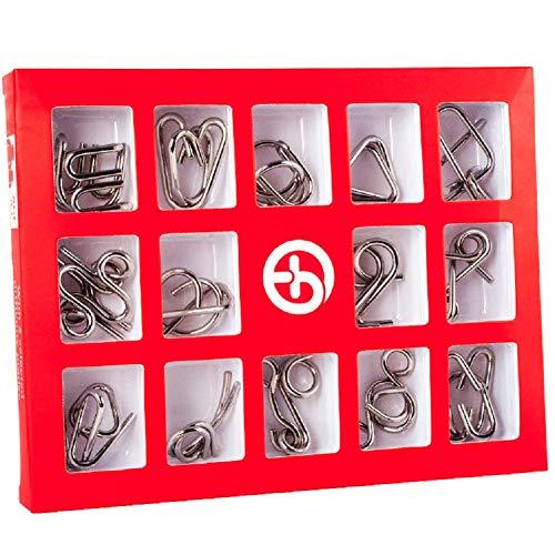 ür Erwachsene und Kinder Metall Geduldspiele im 5 Schwierigkeitsstufen 15 Stück 3D Puzzle Spiele Set ()