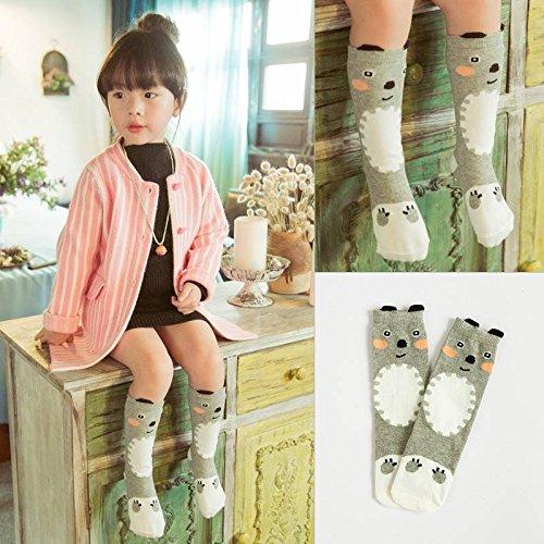mark8shop Lovely Baby Kinder Mädchen Cartoon Bear Knie Strümpfe Baumwolle Casual Socken 0-3Jahren -