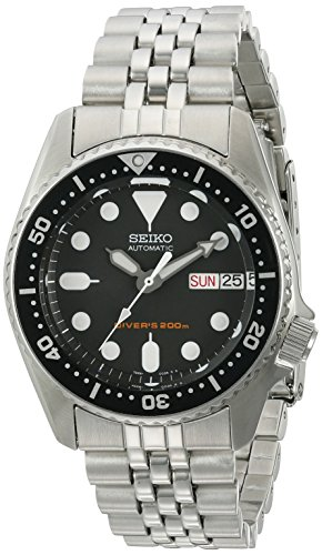 Seiko Men's Automatic Diver SKX013K2 Silver Stainless-Steel Automatic Watch with Black Dial