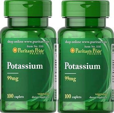 Puritans Pride Chelated Potassium 99 mg 100 Capsules. (Pack 2u.)