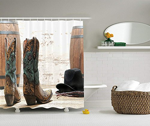 Nyngei Western Decor Collection Amerikanisches Rodeo Cowgirl Design Lederstiefel mit originellem und rustikalem Bild Duschvorhang aus, Set mit, braun, blaugrün