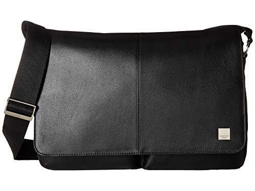 Knomo 154-304-BLK Brompton Kobe Soft Messenger Tasche aus Leder kombiniert mit Nylon, aus recycelten PET-Flaschen für 15 Zoll Notebooks | Schwarz