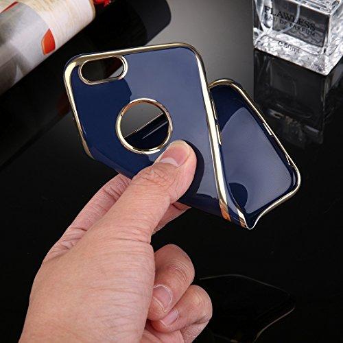Fall für iPhone 7, galvanisierender weicher TPU schützender Abdeckungsfallapfel iPhone 7 by diebelleu ( Color : Pink ) Dark blue