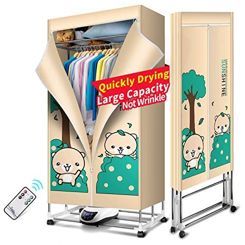 JIANGJIE Elektro-Kleidung Trockner Portable 3-Tier Kleidung Trocknung Rack Energieeinsparung (Anion) Digitaler Automatische Timer mit Fernbedienung für zu Hause & Dorms,A -