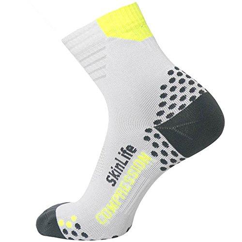 Pure Compression Running Socken-Anti-Blasen-Quarter Länge Sport Socken-Dot Polsterung Technologie, Herren Damen Unisex-Erwachsene, Weiß/Grau, Large/X-Large - Crew Länge Socken