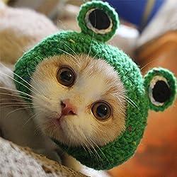 gorro de mascota - gorro de mascota gato hecho a mano gorro de lana de punto hecho a mano para cachorro de peluche rana de dibujos animados animal gato cuidado de aseo accesorios de vestimenta, verde, S