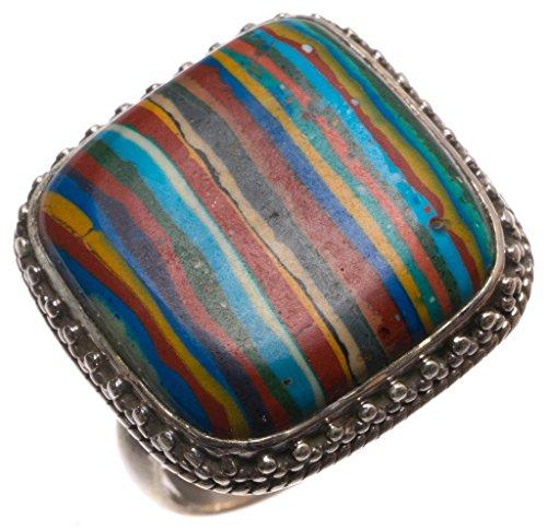 925er Sterling Silber Rainbow Calsilica Einzigartig Handgefertigt Ringe 17 1/4 Multicolor U1808