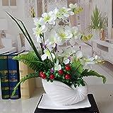 LSRHT Künstliche Blumen Orchidee Topfpflanzen Seidenblumen Weiß Romantische Bouquet Ideal für Home Decor Zimmer Garten Party Hochzeit anzeigen