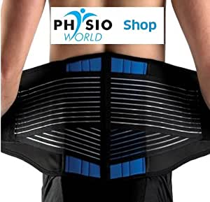 Neoprene Double Pull Lumbar Back Support Brace by PhysioWorld (S (58-72cm))