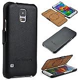 CoinKeeper Samsung Galaxy S5/S5 Neo Hülle - Echt Leder - Handgefertigt - Perfekter Schutz für Ihr Smartphone - Flip Case Etui Book Cover - Handyhülle in Schwarz